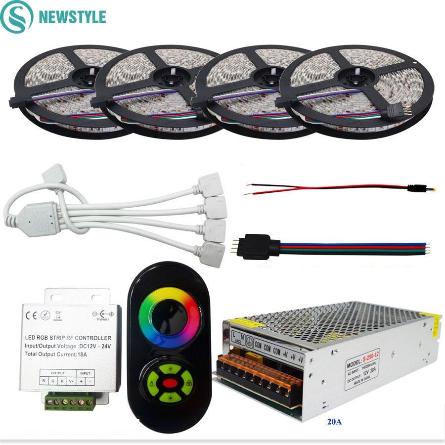 SMD5050 bande LED flexible rgb lumière étanche/Non étanche DC12V 60 LED/m 20 M 15 M 10 M + télécommande RF + alimentation 12 V