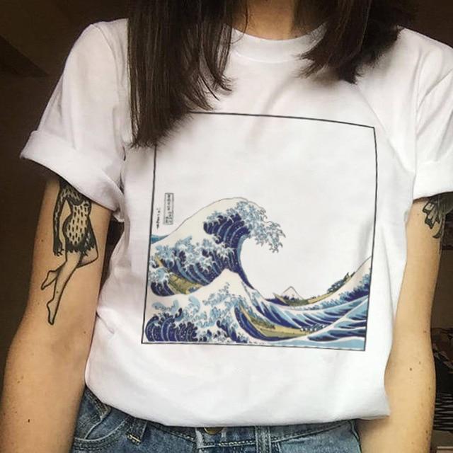 Verão Harajuku moda feminina tamanho grande onda de impressão Japonês divertido curta-mangas compridas T-shirt tops tees nova onda O-pescoço T-shirt ZM-06