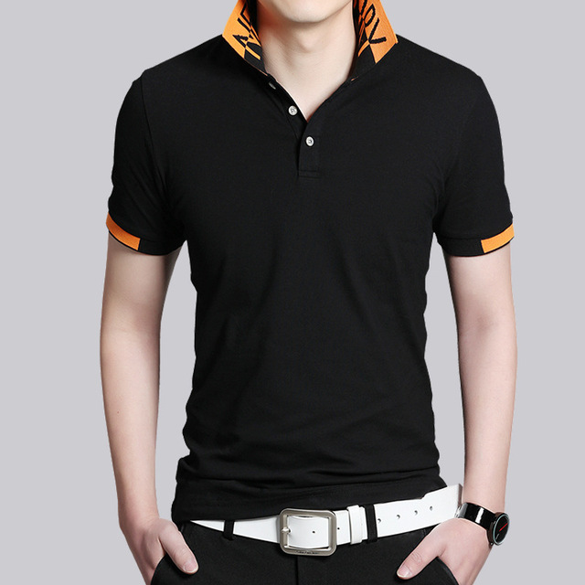 2016 Casual Polo shirt male summer fashion men's black and Gray cotton short sleeve polo shirt Slim fitted men Size M-5XL