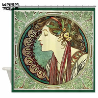 Warm Tour Alphonse Mucha Laurel Shower Curtain Fabric Polyester Waterproof Mildew Resistant Bathroom Curtain WTC066