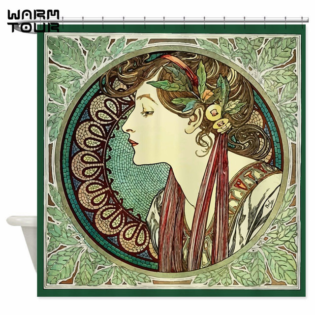 Warm Tour Alphonse Mucha Laurel Shower Curtain Fabric Polyester Waterproof Mildew Resistant Bathroom WTC066