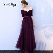 It's YiiYa Prom Dress Off Shoulder Purple Half Sleeve Weddin