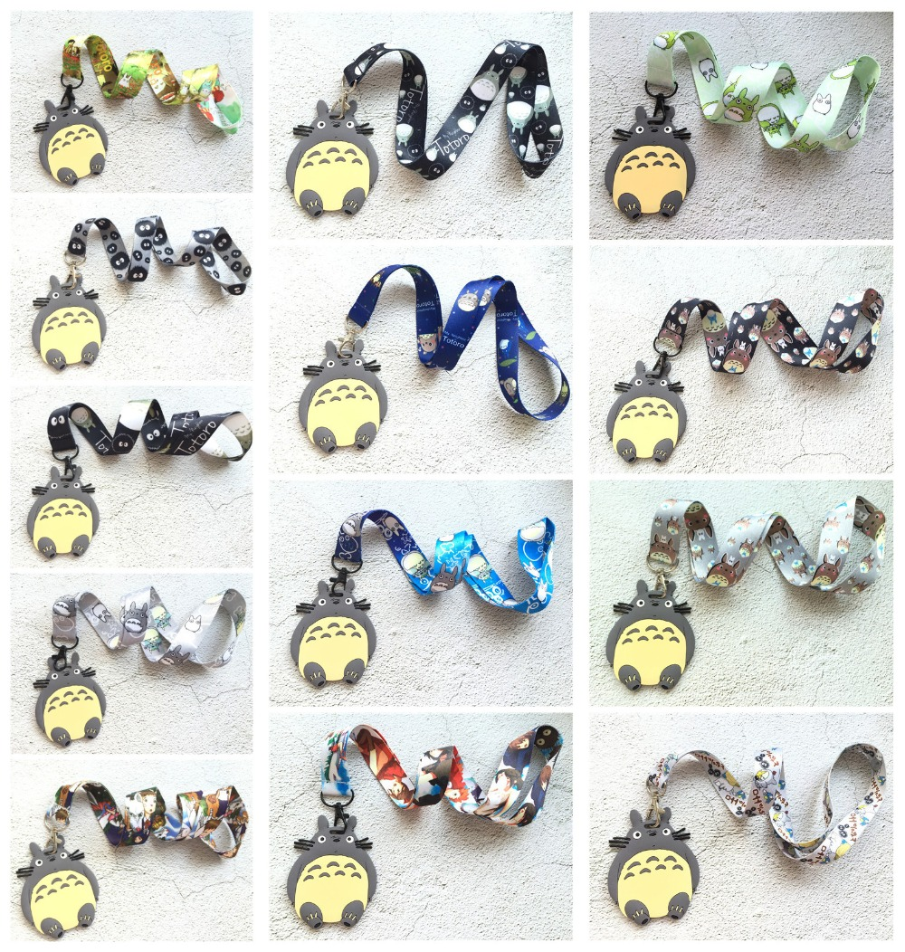 New 1 Pcs Anime My Neighbor Totoro Pvc Lanyard Key Chains Card Holders Bank Card Neck Strap Card Bus ID Holders Kids Party Gifts