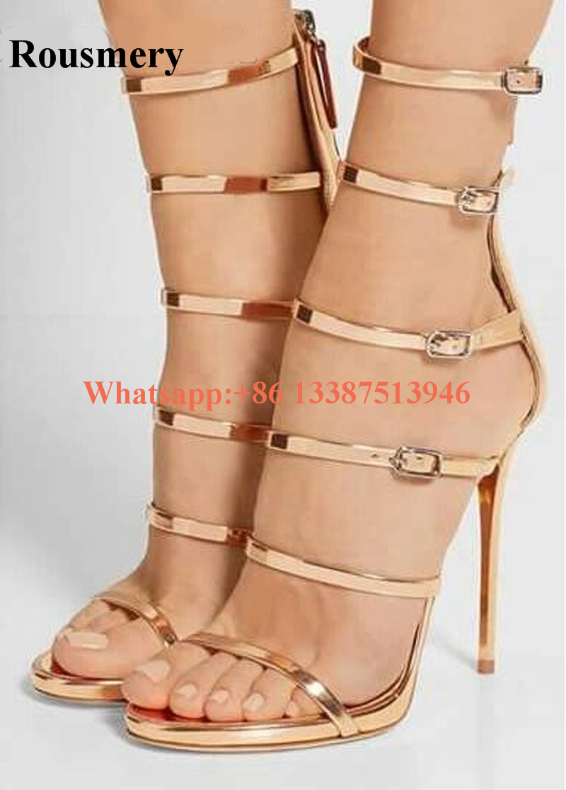 New Design Women Fashion Open Toe 5 Straps High Heel Sandals Cut-out Gold Gladiator Sandals Formal Dress Pumps цена 2017