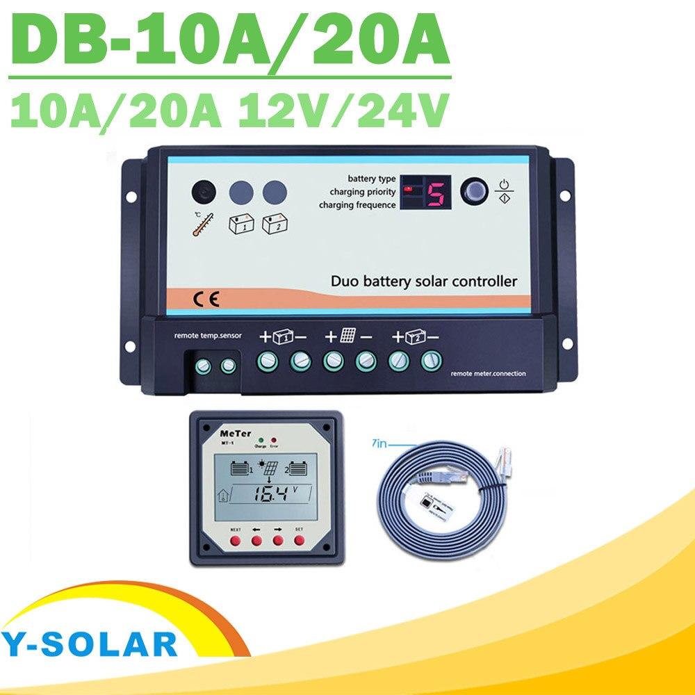 EPever 20A 10A Dual Bateria 12 V 24 V de Alta eficiência PWM Solar Controlador Regulador de Carga Display Remoto MT-1 Opt temp Cabo