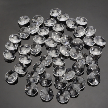 50 sztuk 14mm szkło kryształowe pryzmaty jasne ośmiokątne koraliki szklany wisiorek żyrandole do lampy światła dekoracje tanie i dobre opinie Mayitr Chandelier Crystal Beads