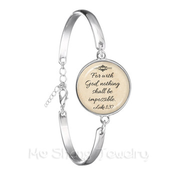 Newest Fashion Jesus Jewelry Christian Bracelet Faith With God Nothing is Impossible Quote Jewelry Glass Dome Chain Bangle image