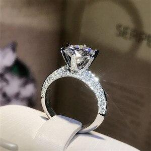 Image 2 - Klasyczne luksusowe naprawdę twarde 925 srebrny pierścień 2Ct 10 serca strzały SONA diamentowe wesele biżuteria pierścionki zaręczynowe dla kobiet