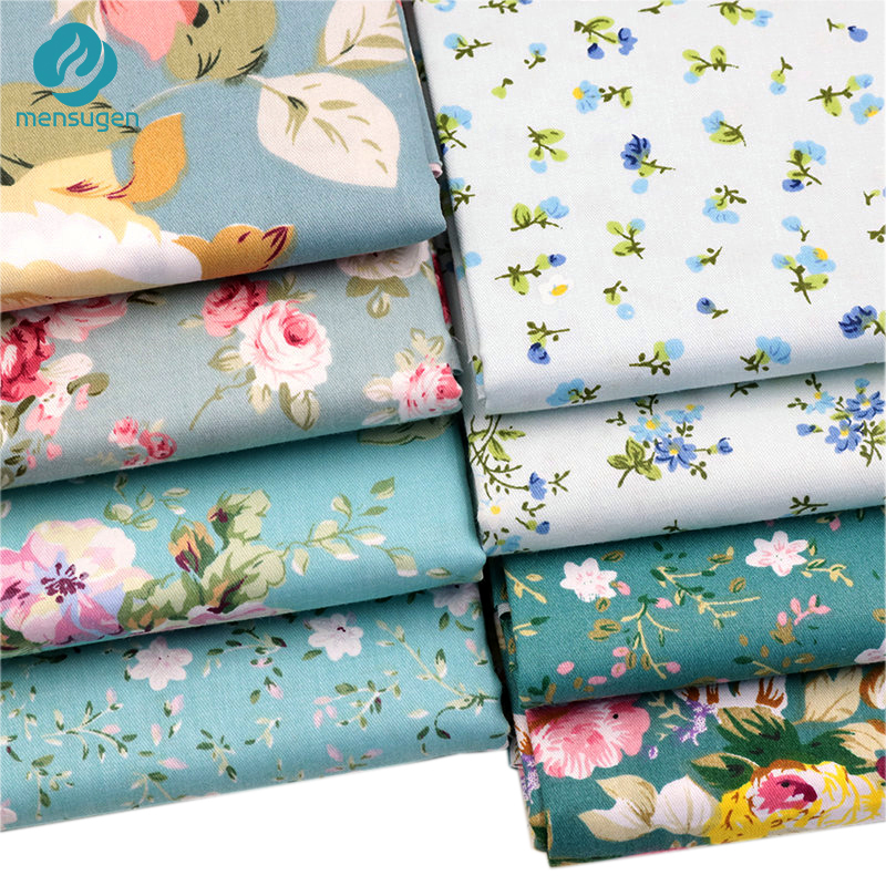 Mensugen-8pcs-lot-40cm-50cm-Green-Flower-Floral-Printed-Cotton-fabric-for-Patchwork-Quilting-Doll-Clothes (1)