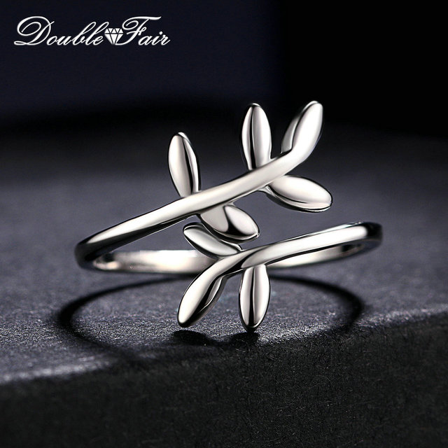 Double Fair 100% 925 Sterling Silver Rings Cute Leaves Design S925 Adjustable Ri