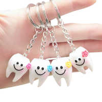 20 stücke Keychain Schlüssel Ring Hängen Zahn Form Nette Dental Geschenk