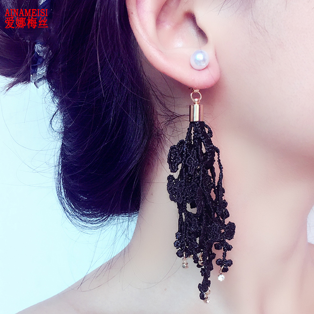 Ainameisi Lace Earrings Women Pearl Dangle Earrings Vintage Bohemian  Jewellery Cute Earrings For Sale Hot Wholesale