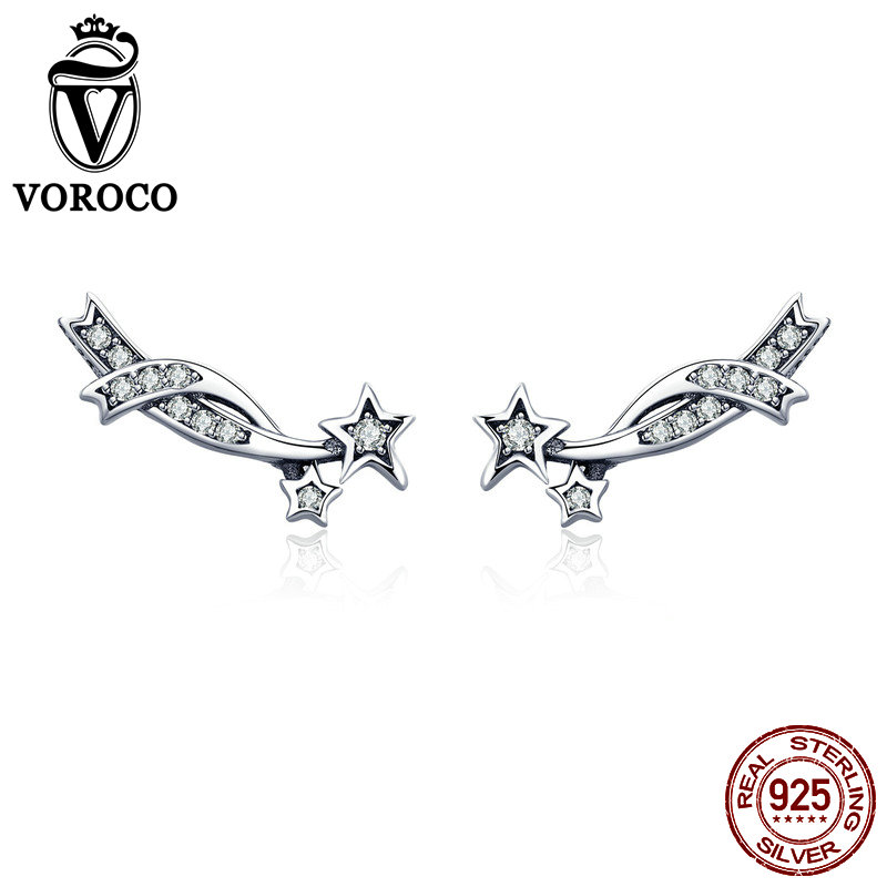 VOROCO Stud-Earrings Jewelry 925-Sterling-Silver Woman Real Clear Star Party for Anniversary