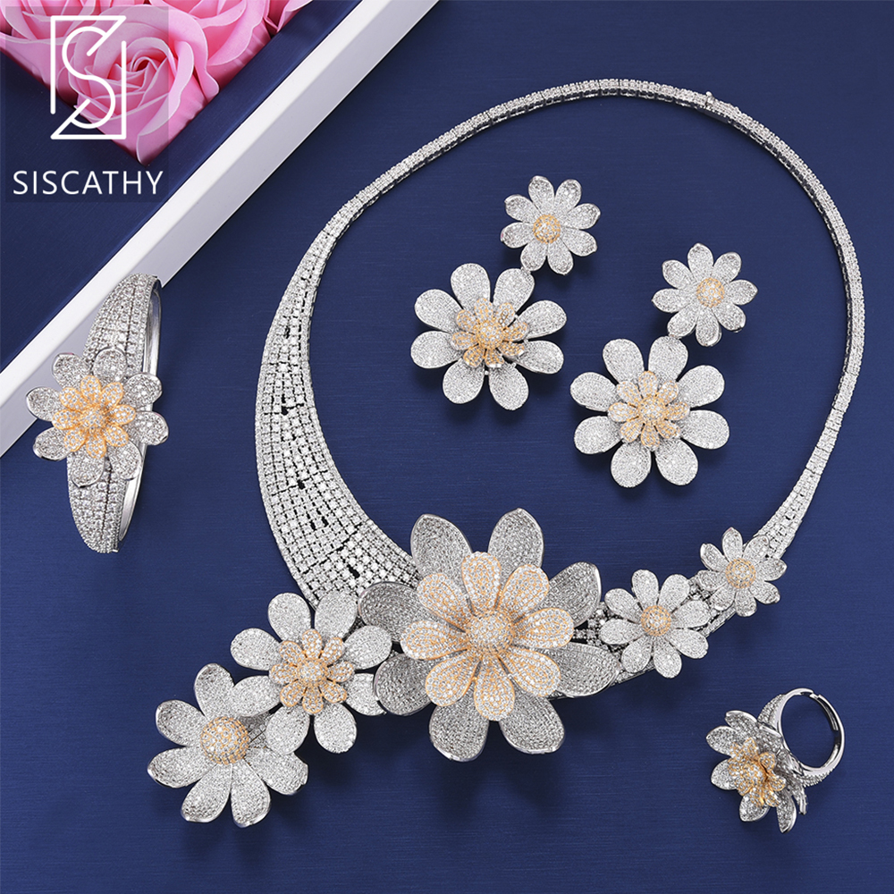 SisCathy Luxury Flower Wedding Jewelry Sets Bicolors Cubic Zirconia Collar Necklace Earrings Bangle Resizable Ring Jewelry Sets