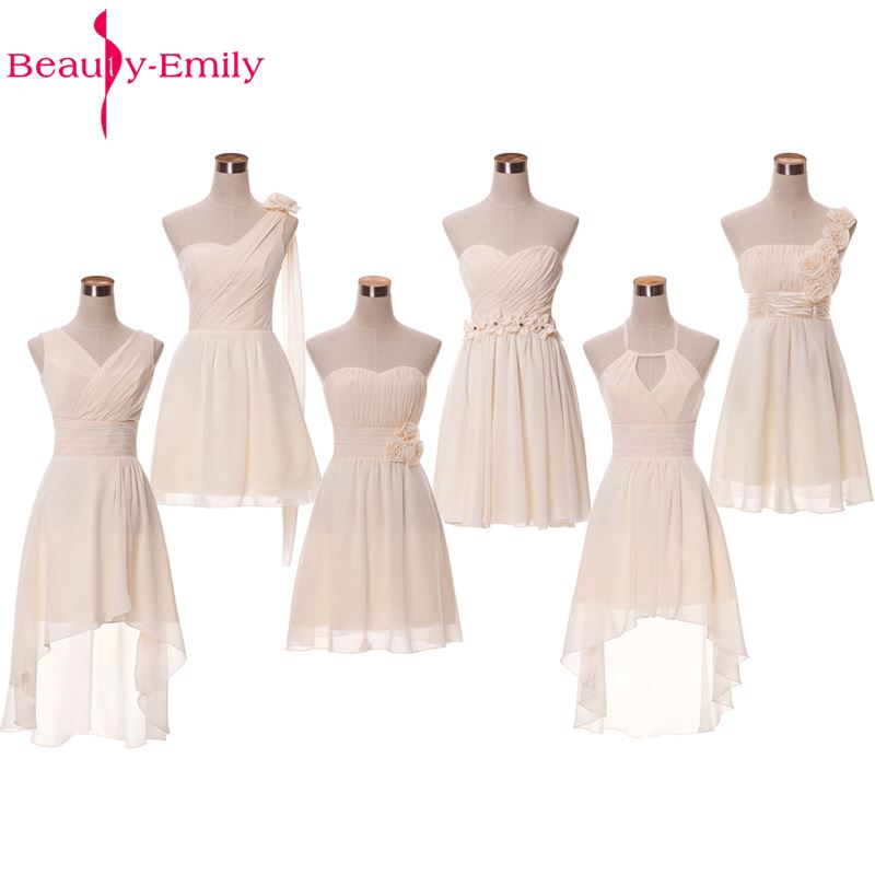 Beauty-Emily Champange Chiffon Short Bridesmaid Dresses 2017 Off the Shoulder Homecoming Party Prom Dresses