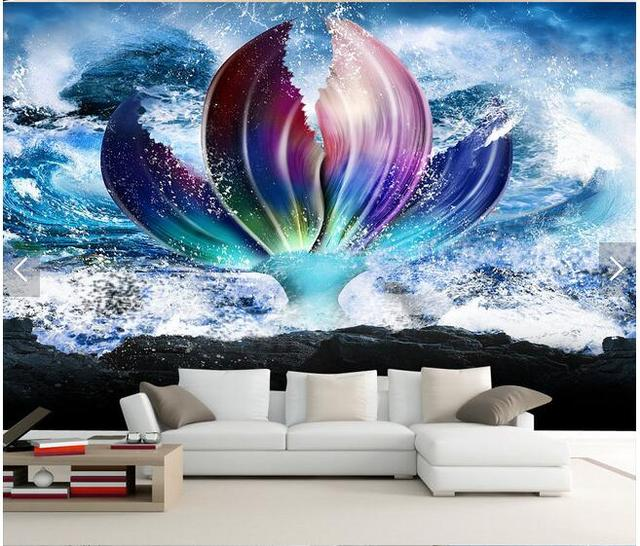 Grande peinture murale personnalisée papier peint fantaisie salon TV ...