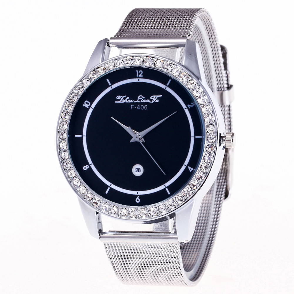 ZhouLianFa Crystal Women Bracelet Watches Stainless Steel Simple Clock Men Couple Wrist Watches Gift Montre Femme #BL2(China)
