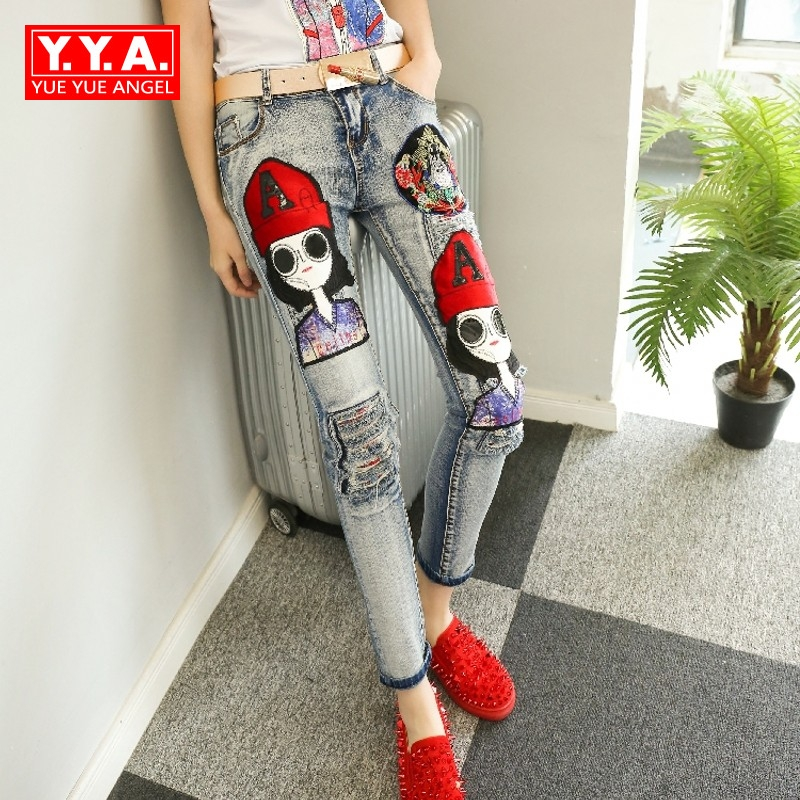 New Product Fashion Streetwear Female Casual Autumn Winter Long Pencil Pants Appliques Girl Ripped Jeans Denim Pants For Women autumn new fashion cotton jeans women loose low waist washed vintage big hole ripped long denim pencil pants casual girl pants
