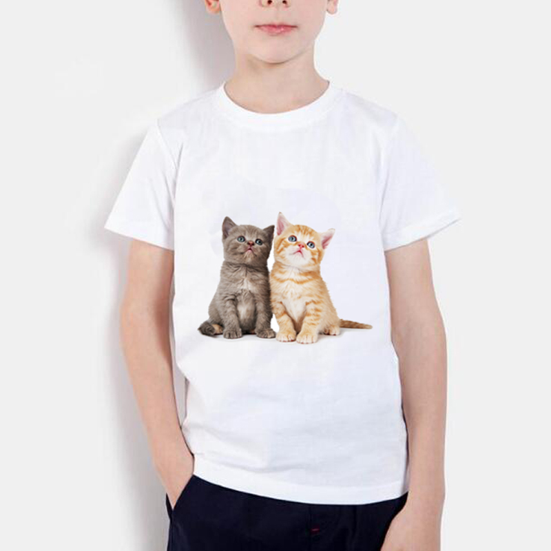 New 2019 Children's Animals 3D Cats Realistic Summer Tops Print Funny Cute Print Girls Boys T-Shirt Baby Casual Children's Wear