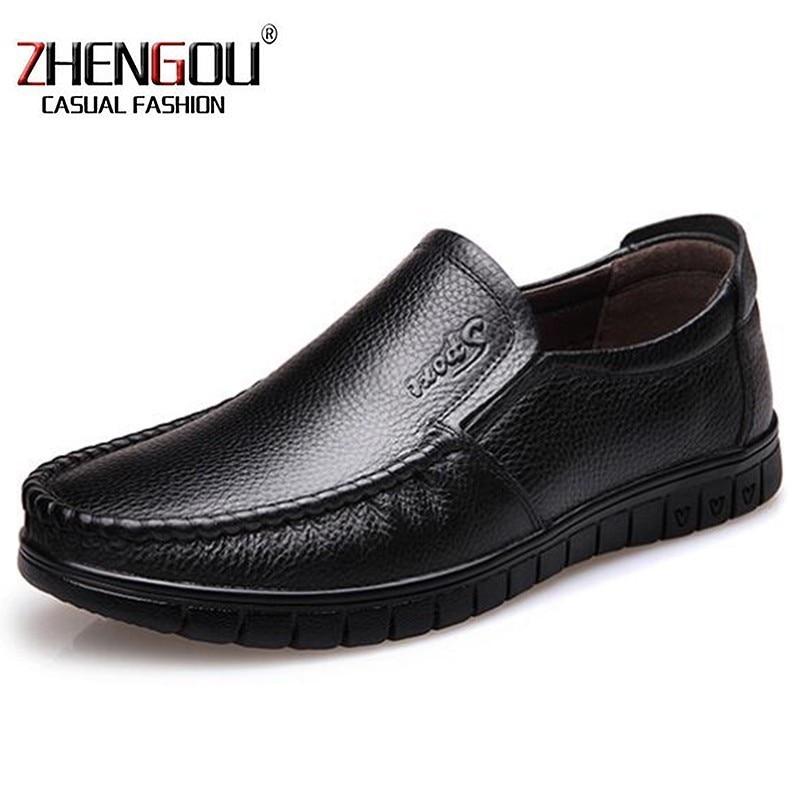 866252e987c2 Zhengou brown Mocassin Respirant En Slip Chaussures Black Européenne Casual  Hommes Italien 8823 Marque khaki Véritable Confortables ...