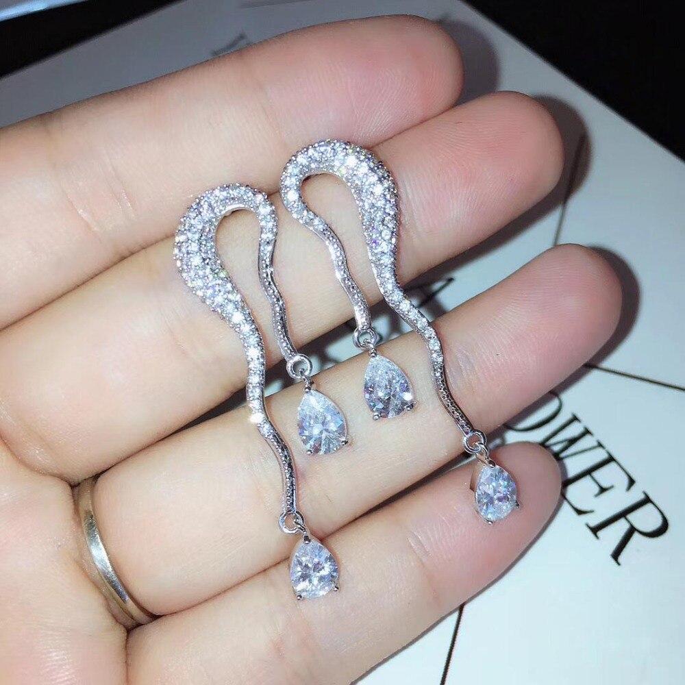 Silver Plated Cubic Zirconia Water Drop Sector Rhinestone Stud Earrings