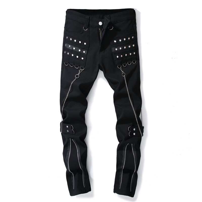 Fashion Chain Black Jeans 29-38 Rivet Decorated Mens Jeans Punk Style Trousers Denim Pants Zippers Long Trousers hot sell