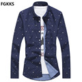 2017 Hot Sale Casual Shirt Men Brand Clothing Polka Dot Long Sleeve Male Shirt Fashion Slim Fit Dress Shirts Mens Size M-5XL
