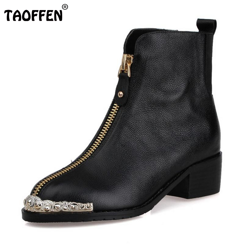 Women Retro Boots Genuine Real Leather Ankle Boots Sexy Square Heels Metal Round Toe Botas Winter Zipper Women Shoes Size 34-39 woman genuine leather round toe ankle boots women sexy high heel zipper botas fashion buckle heels shoes size 34 39