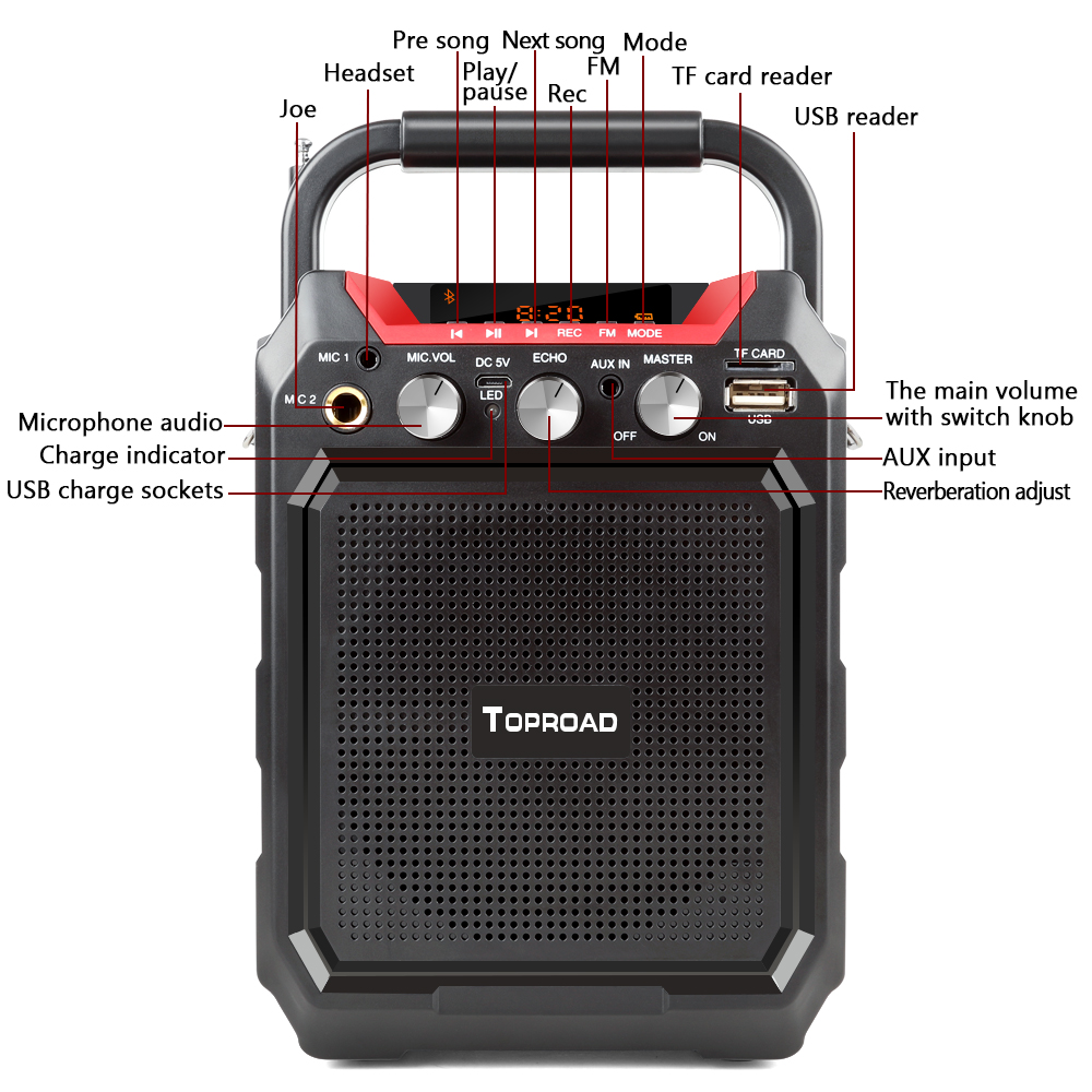 TOPROAD Portable Wireless Bluetooth Speaker With 3D Sound System Microphone And Remote Control 12