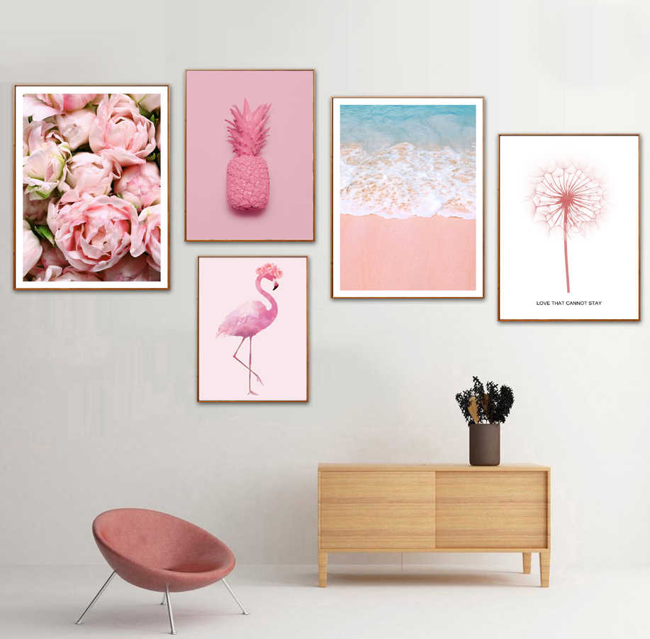 Flamingo Sea Beach Pineapple Dandelion Wall Art Canvas Painting Nordic Posters And Prints Wall Pictures For Living Room Decor