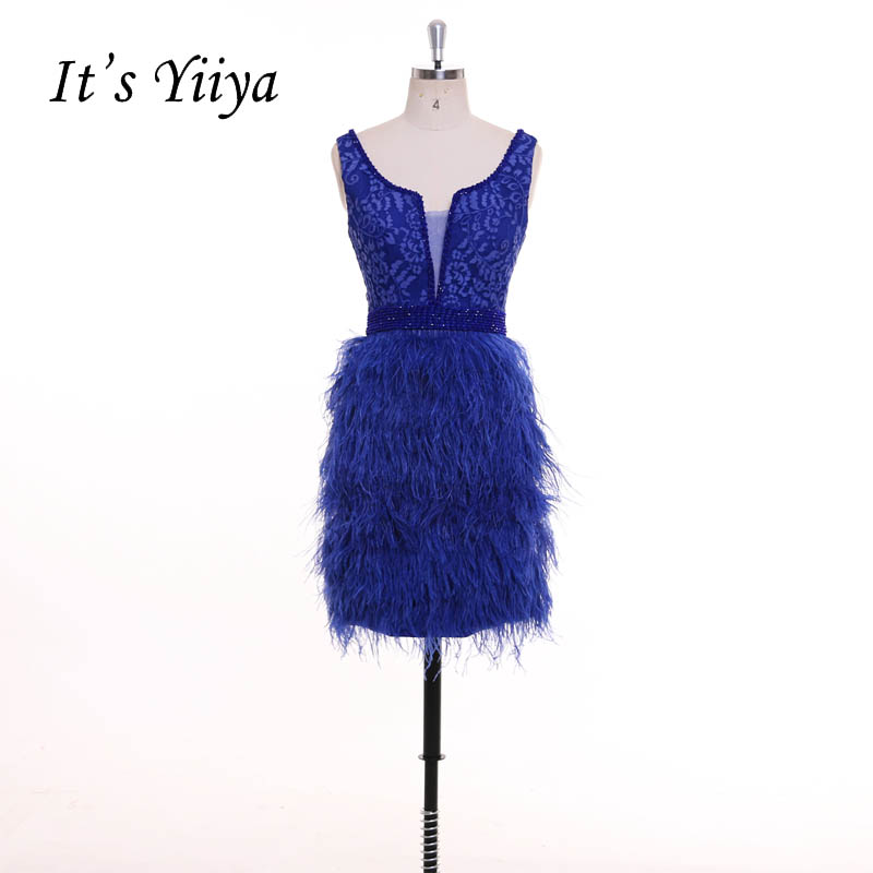 It's YiiYa Blue Beading Sex Backless Straight Feathers Backless Zipper   Cocktail     Dresses   Short Stain Party   Dress   Custom Made F022