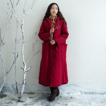 Women Winter Thick Cotton Linen Hooded Padded Coat hand-made Button Single breasted Long Overcoat Vintage Loose Solid Outwear