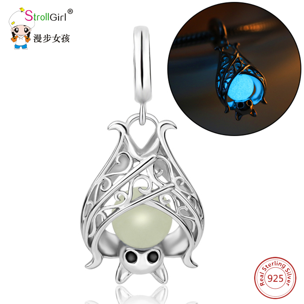 Pendant-Fit Charms Sterling Silver 925 Original New-Arrival Authentic Bat Glowing