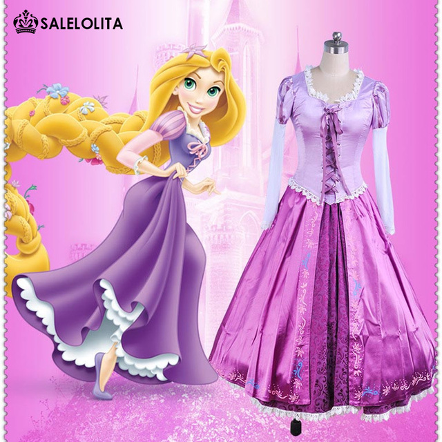 9094beb8108 Brand New Adult Rapunzel Fancy Dress Anime Cosplay Costume Purple Princess  Fairytale Tangled Printed Lace Lolita Dress For Women