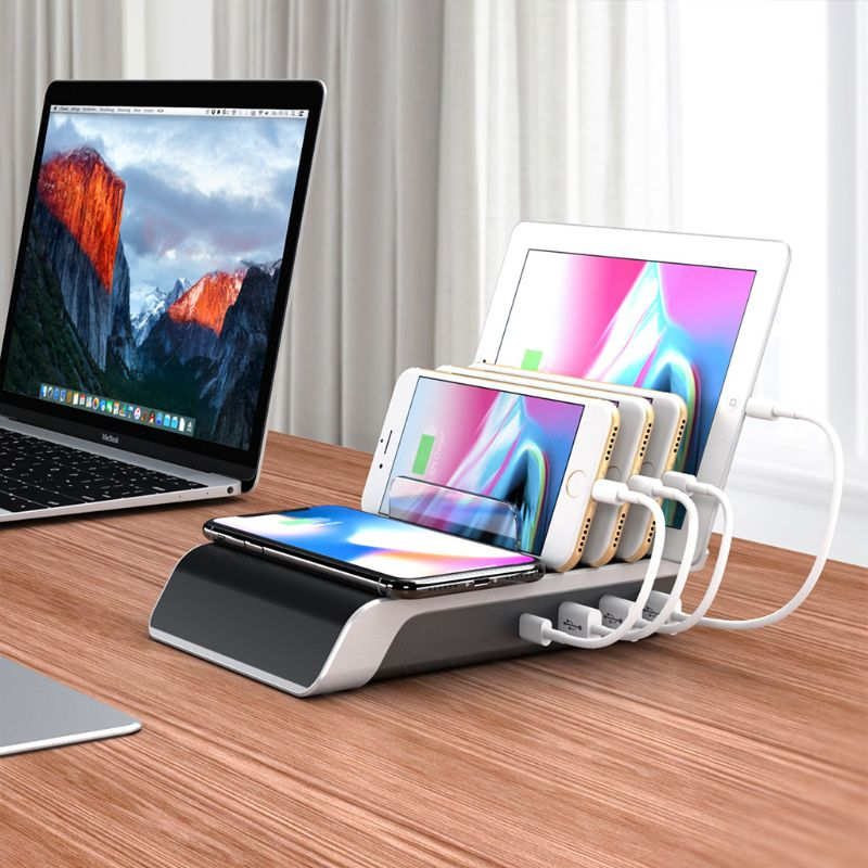 USB Type C Mobile Phone Tablets Multiple Devices Organizer Desktop Stand Power Adapter Wireless Charger for iPhone Samsung Sony in Chargers from Consumer Electronics