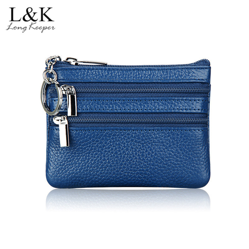 LongKeeper Brand Fashion Genuine Leather Women Lady Wallet Clutch Short Small Coin Purse New Soft Solid 3 zipper Bag With RFID
