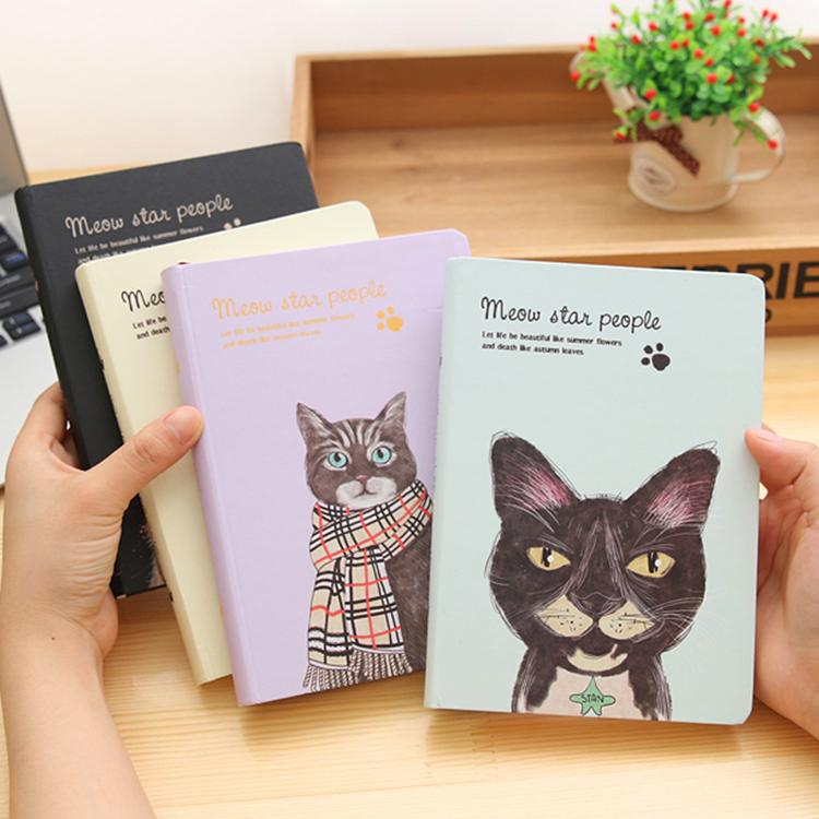 A5 Cute Cartoon Animal Cat Notebook Creative Korean Color Pages Journal Diary Planner Notepad Folios Special Gift to Students 1pc creative cute cartoon animal planner notebook diary book wooden school supplies student gift