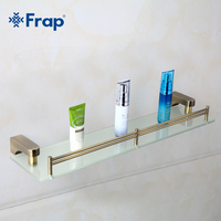 1 Set Retro Style Bathroom Accessories Space Aluminium Bronze Brushed With Tempered Glass Single Tier Glass