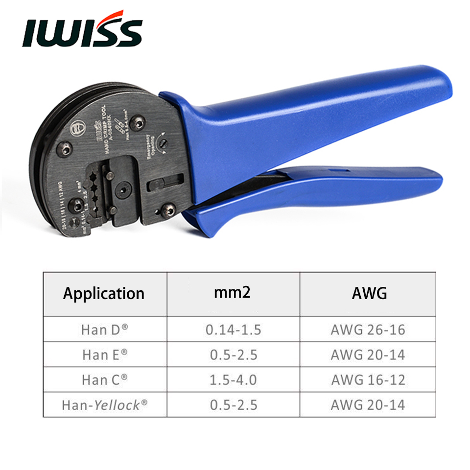 IWISS IWS 0540HX Hand Crimping Tools for 0 14mm2 4 0mm2 AWG26 12 Harting Han D
