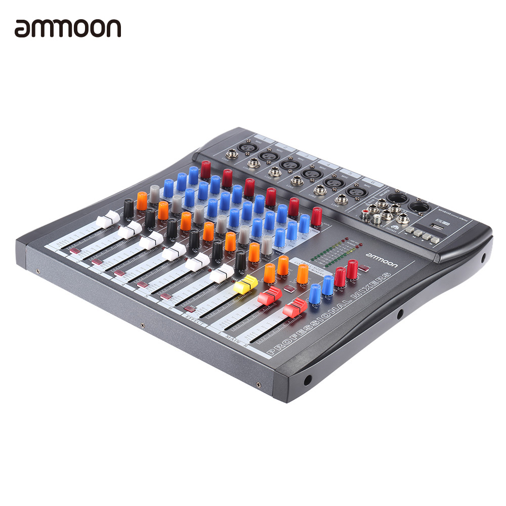 ammoon 60S USB 6 Channels Mixing Console Mic Audio Mixer Console 3 band EQ USB XLR