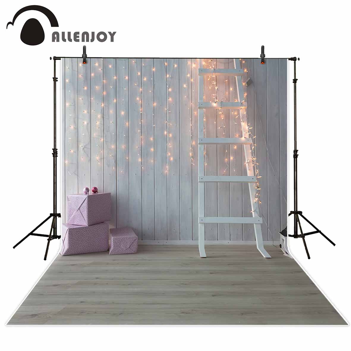 Allenjoy photography backdrops Wooden background small bulbs ladder gifts for a photo shoot for kids Photophone photo backdrops allenjoy photography backdrops pink curtains stripes birthday background customize photo booth for a photo shoot vinyl backdrops
