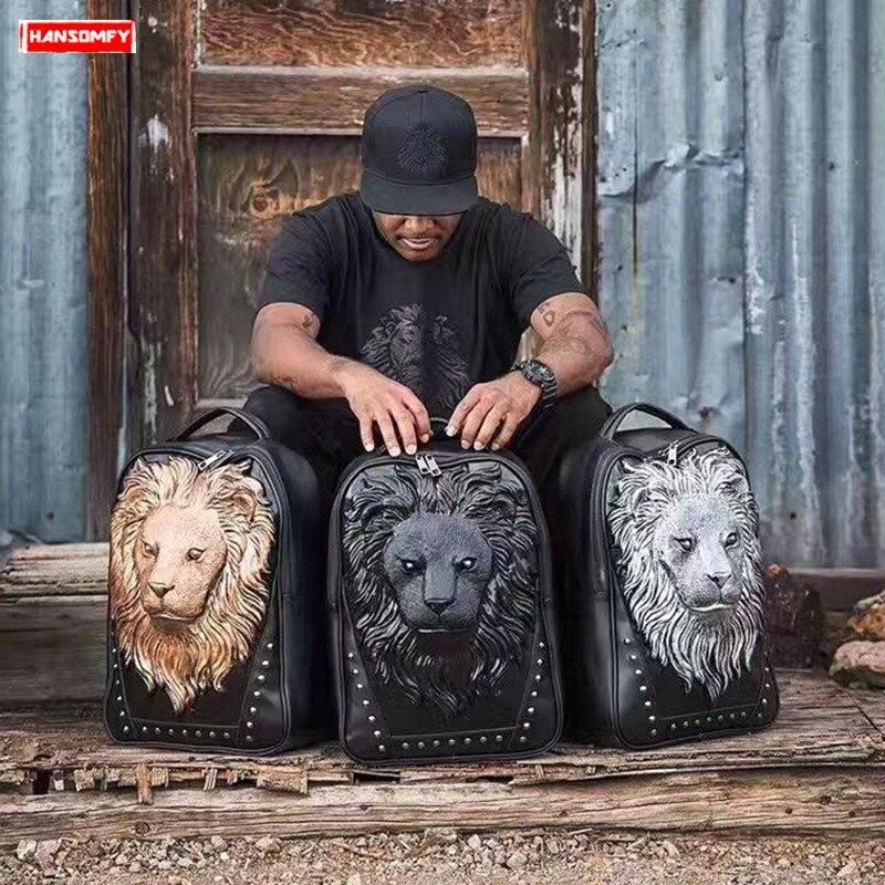 2020 New Street Trend Men Backpack Male 3D Stereo Lion Head Shoulder Bag Black Leather Portable Computer Bags Travel Backpacks
