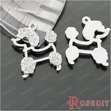25*23mm Chrome Plated Poodles Alloy Rhinestone Flat Charms Pendants Jewelry Findings 6 pieces(J-M4395)