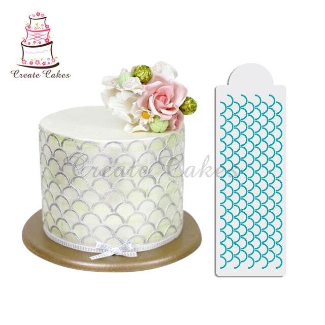 scalloped print cake stencil for cake design plastic stencil for