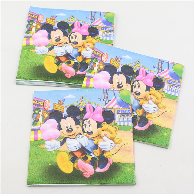 20pcs Mickey Mouse Cortoon Decoupage Paper Napkin Tissue Boy Kid Birthday Baby Shower Party Decoration