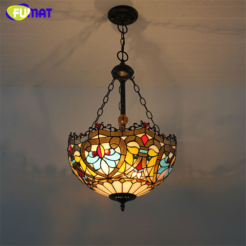 FUMAT Stained Glass Pendant Lamp Flower Dragonfly Art Glass Shade Lights Restaurant Living Room Suspension Project Light Fixture fumat stained glass pendant lamp art butterfly glass shade lamps living room bed room multi color indoor lamp led pendant lights