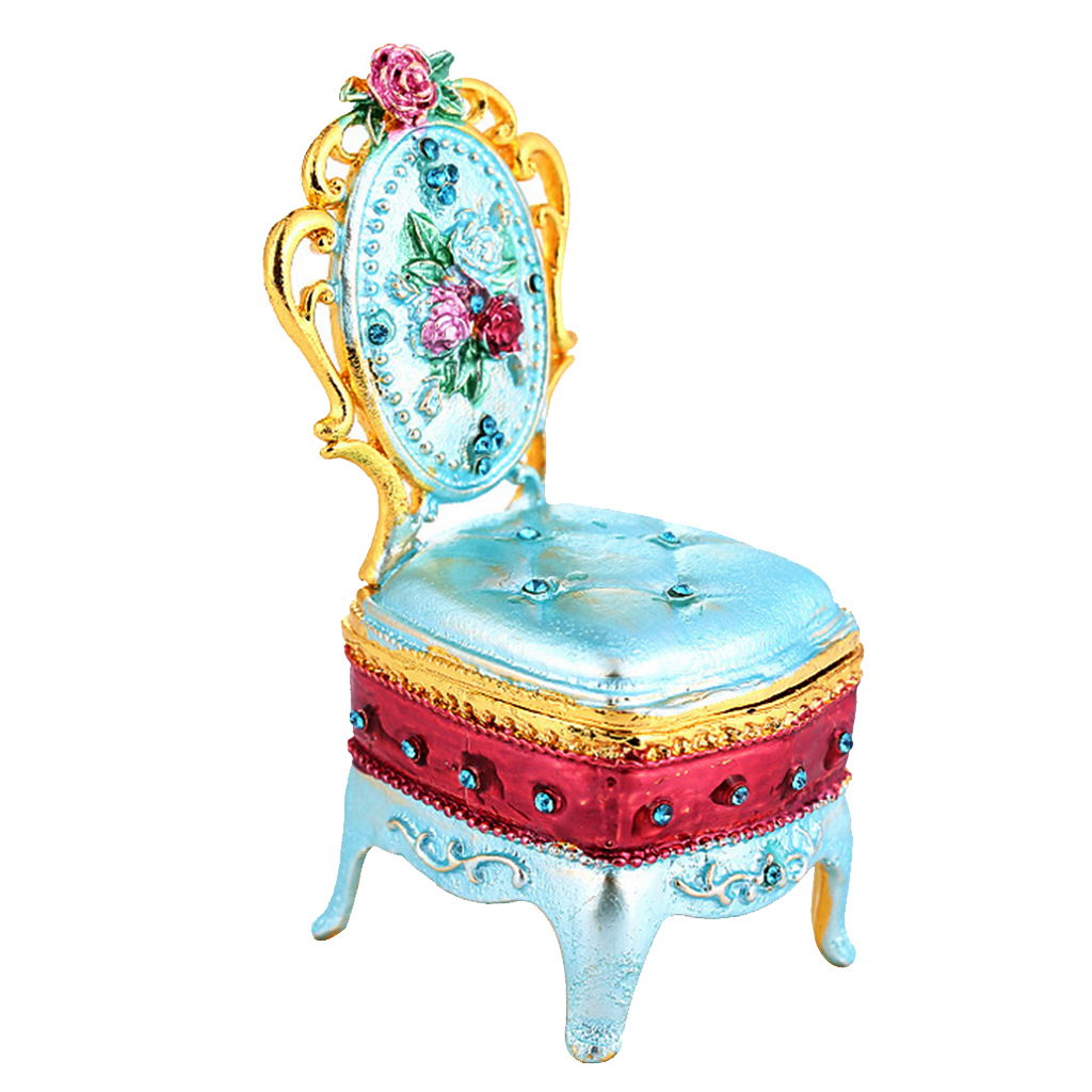 Fancy Cute Color Enameled Chair Ring Jewelry Holder Storage Small Box Room Display Gifts Box
