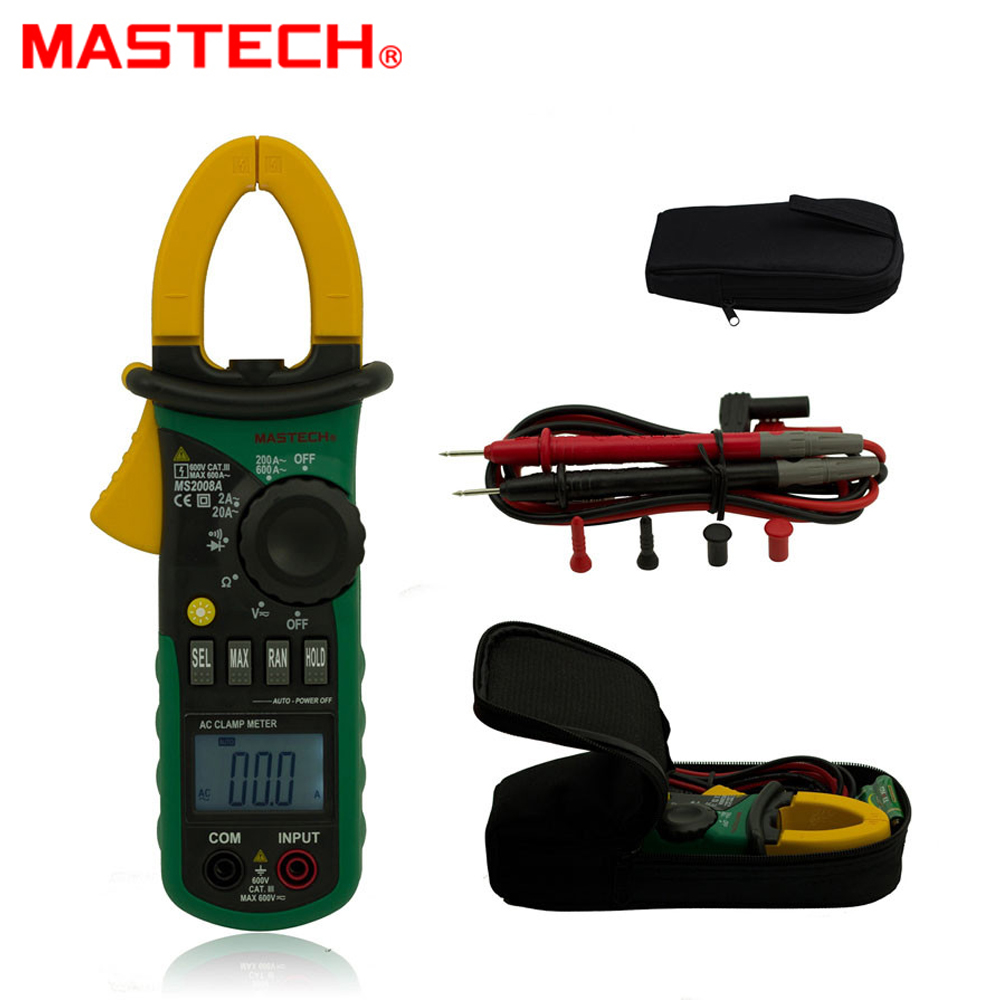 MASTECH MS2008A Mini Digital Clamp Meter For AC Current AC/DC Voltage Tester mas tech pro mini mastech ms3302 ac current transducer 0 1a 400a clamp meter test hot sales