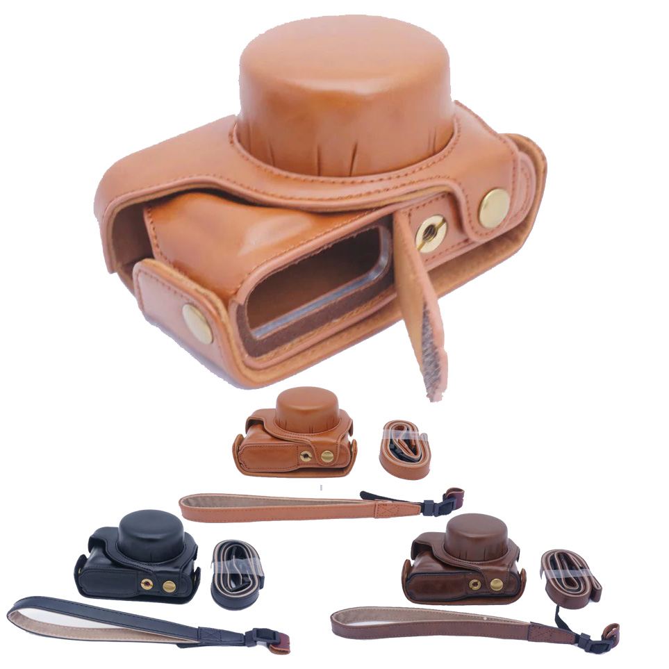 Luxury PU Leather Camera Bag For Panasonic Lumix GF7 GF8 Camera Case Portable Take Out Battery