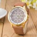 2016 Más Nuevo de La Flor Impreso Relojes de Moda Las Mujeres de Cuarzo Analógico Reloj de Pulsera Nuevo Diseño Simple Vestido de la Señora de Cuero Del Relogio